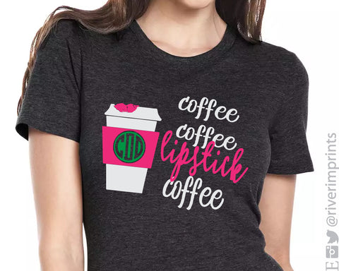 COFFEE COFFEE LIPSTICK COFFEE Monogram Triblend Tee River Imprints