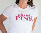 COLOR ME PINK Glittery Performance Tee