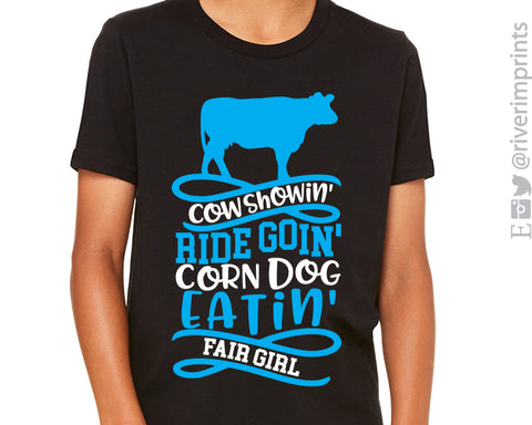 COW SHOWIN RIDE GOIN FAIR GIRL Youth Graphic Tee