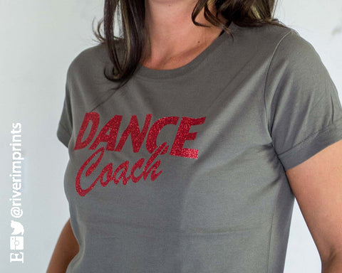 DANCE COACH, glittery semi-fitted sparkle tee shirt River Imprints