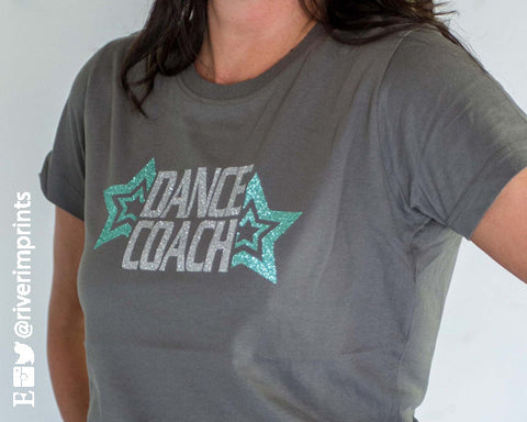 DANCE COACH stars, 2-color glittery semi-fitted sparkle tee shirt