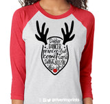 REINDEER NAMES Glittery Triblend Raglan Tee by River Imprints