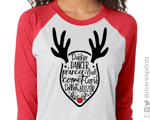 REINDEER NAMES Glittery Triblend Raglan by River Imprints