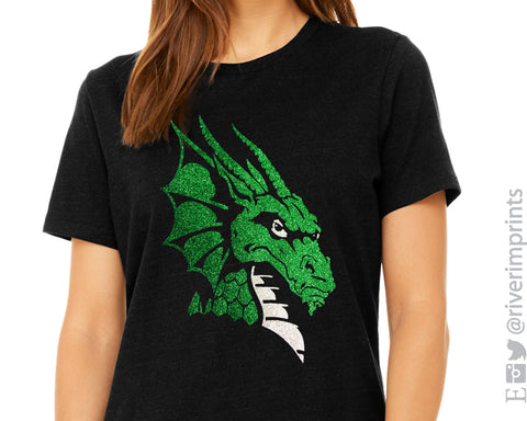 DRAGON Logo Glittery Womens Dragon School Mascot Cotton Tee Shirt