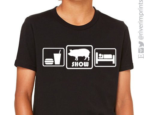 SALE - EAT SLEEP SHOW PIG Youth Tee Shirt