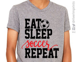 EAT SLEEP SOCCER REPEAT triblend youth tee