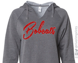 BOBCATS Hoodie Glittery Womens Bobcat School Mascot V-neck Hooded Sweatshirt