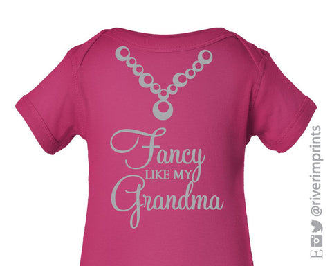 Baby FANCY like my GRANDMA, shiny foil girl short sleeve bodysuit/creeper