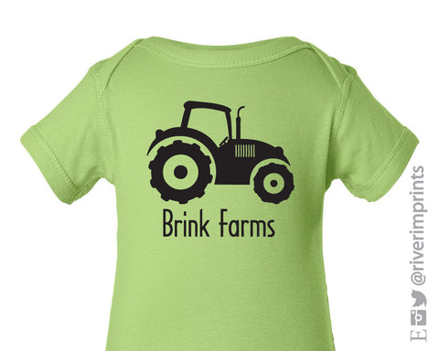Baby TRACTOR FARM, personalized boy or girl bodysuit/creeper farm tee