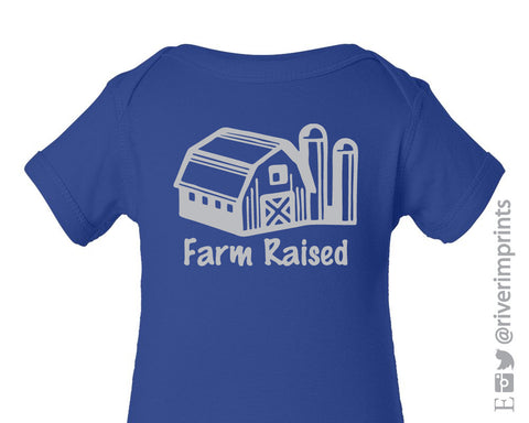 Baby FARM RAISED, boy or girl short sleeve one piece with barn image