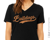 BULLDOGS Glittery Womens Bulldog School Mascot V-neck Triblend Tee Shirt