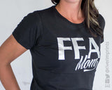 FFA MOM, shiny foil tee shirt by River Imprints