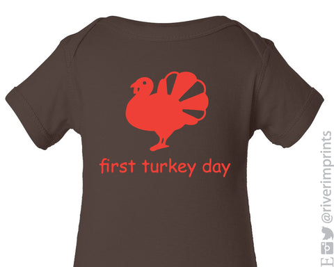 Baby TURKEY bodysuit - one piece, First Thanksgiving boy or girl bodysuit, First Turkey Day