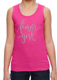 FLOWER GIRL Cursive Glittery Girls Tank