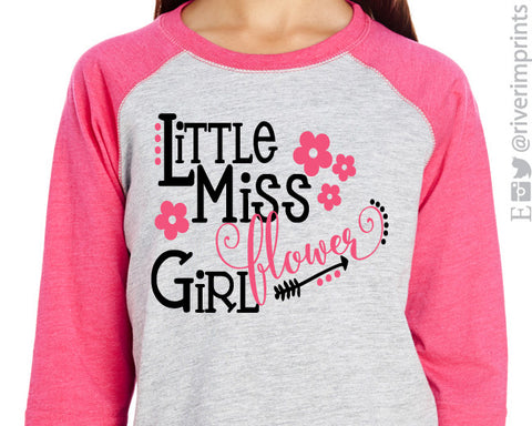LITTLE MISS FLOWER GIRL toddler/youth wedding raglan