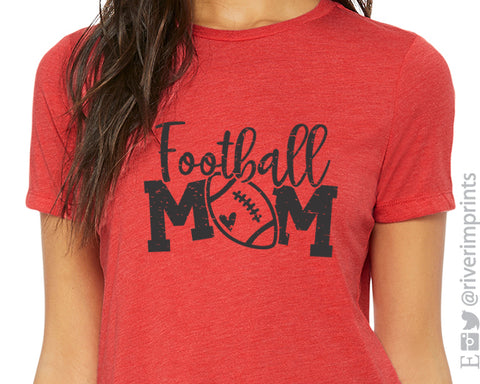 FOOTBALL MOM Triblend Distressed Graphic Tee