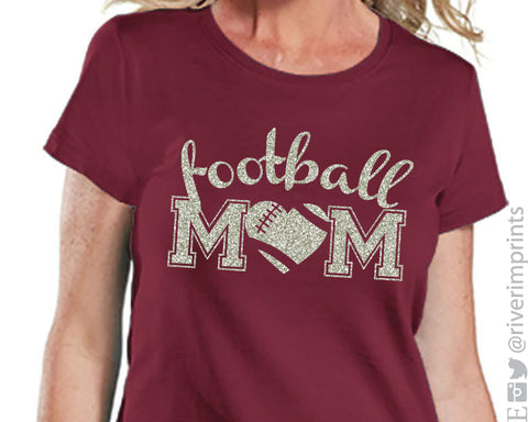 FOOTBALL MOM cursive, shiny glitter t-shirt