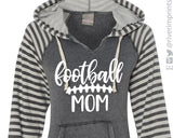 Hoodie FOOTBALL MOM Striped Raglan Glittery Hooded Sweatshirt