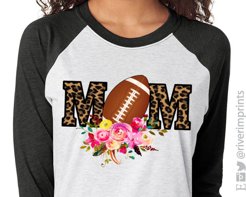 FOOTBALL MOM Sublimated Triblend Raglan by River Imprints
