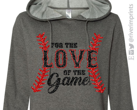 FOR THE LOVE OF THE GAME Glittery Midweight Hooded Sweatshirt by River Imprints