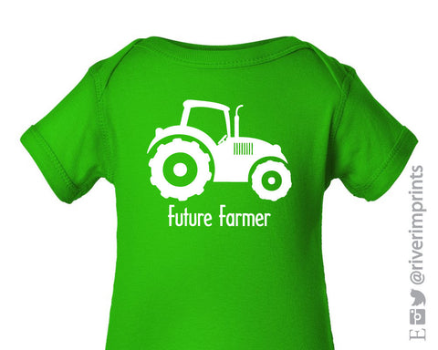 Baby FUTURE FARMER TRACTOR boy or girl short sleeve one piece farm tee