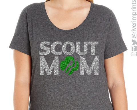 GIRL SCOUT MOM Curvy Collection Glittery Scoopneck Cotton Tee