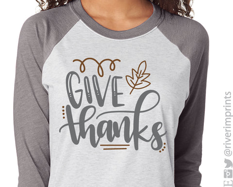 GIVE THANKS Triblend Raglan Tee by River Imprints