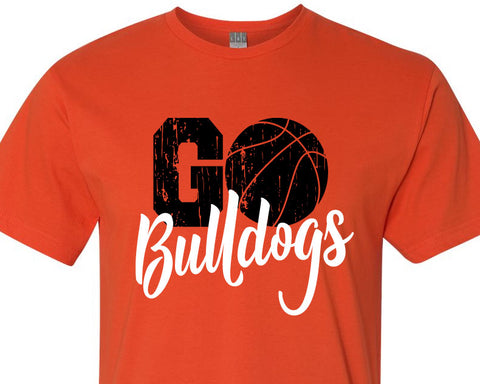 GO BULLDOGS Basketball Personalized Cotton Tee River Imprints