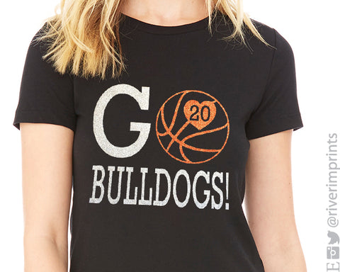 GO BASKETBALL Personalized Glittery Cotton Tee River Imprints
