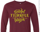 GRATEFUL THANKFUL AND BLESSED Long Sleeve Glitter Tee