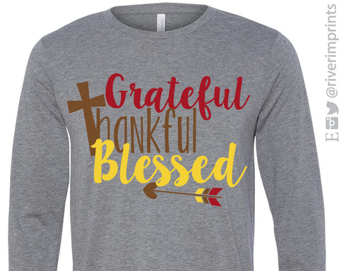 GRATEFUL THANKFUL BLESSED Long Sleeve Triblend Tee