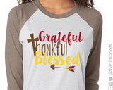 GRATEFUL THANKFUL BLESSED Multi-color Raglan Tee