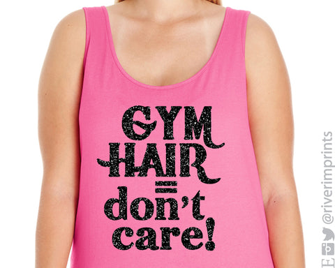 GYM HAIR DON'T CARE Glittery Curvy Collection Women's Tank