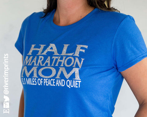 HALF MARATHON MOM Glittery Performance Tee