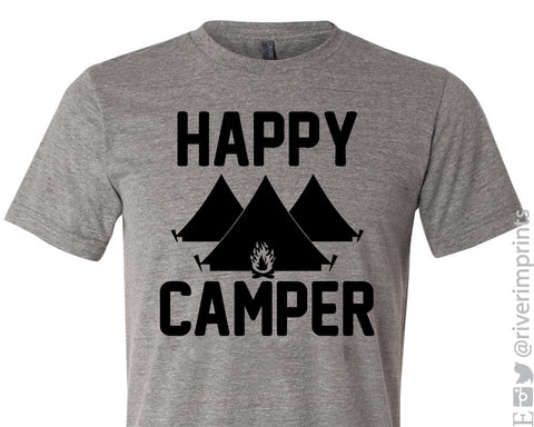 HAPPY CAMPER Graphic Triblend Tee by River Imprints
