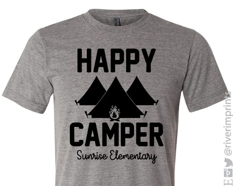 HAPPY CAMPER - SUNRISE ELEMENTARY Triblend Graphic Tee