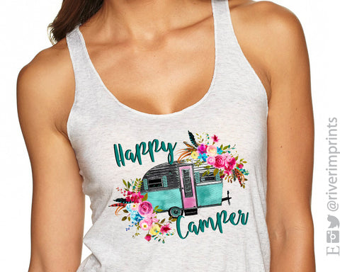 HAPPY CAMPER Sublimated Triblend Tank by River Imprints