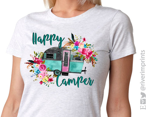HAPPY CAMPER Sublimated Triblend Tee by River Imprints