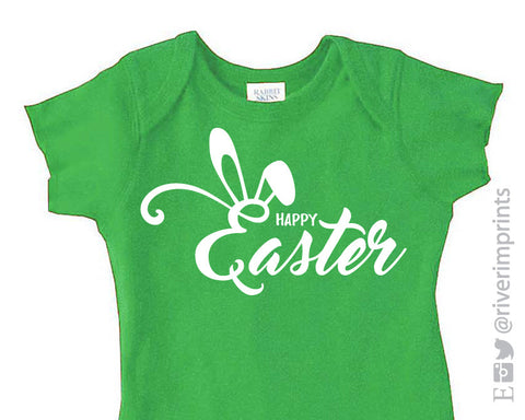 HAPPY EASTER baby bodysuit or toddler tee by River Imprints