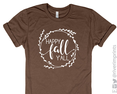 HAPPY FALL Y'ALL Graphic Blend Tee