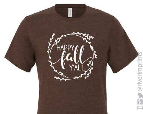 HAPPY FALL Y'ALL Wreath Graphic Triblend Tee