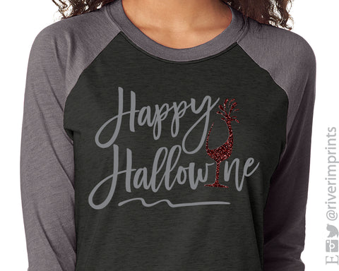 HAPPY HALLOWINE Glittery Triblend Raglan by River Imprints