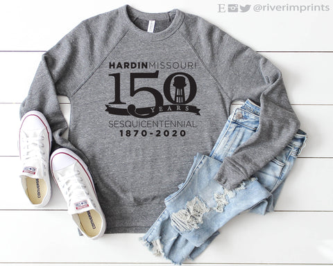 HARDIN MISSOURI 150 YEARS Fleece Raglan Sweatshirt