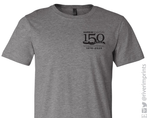 HARDIN MISSOURI 150 YEARS With SPONSORS Youth and Adult Blend Short Sleeve Tee