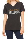 HARDIN-CENTRAL BULLDOGS Glittery Womens Bulldog School Mascot V-neck Cotton Tee Shirt
