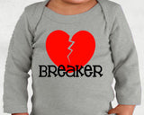 HEART BREAKER long sleeve baby bodysuit