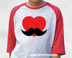 Toddler HEART MUSTACHE Valentine's Day Raglan 3/4 sleeve T-shirt