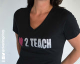 LOVE TO TEACH, glittery sparkle tee shirt, choose from Regular Unisex Fit or Ladies' Fitted tee