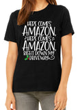HERE COMES AMAZON Graphic Triblend T-shirt by River Imprints