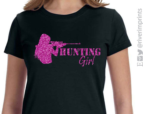 HUNTING GIRL, sparkly glitter hunt girl t-shirt